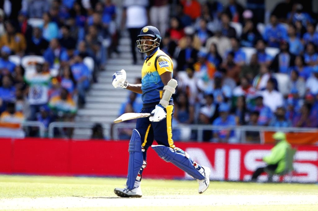Leeds: Sri Lanka's Angelo Mathews celebrates his century during the 44th match of World Cup 2019 between India and Sri Lanka at Headingley Stadium in Leeds, England on July 6, 2019. (Photo: Surjeet Yadav/IANS) - Surjeet Yadav