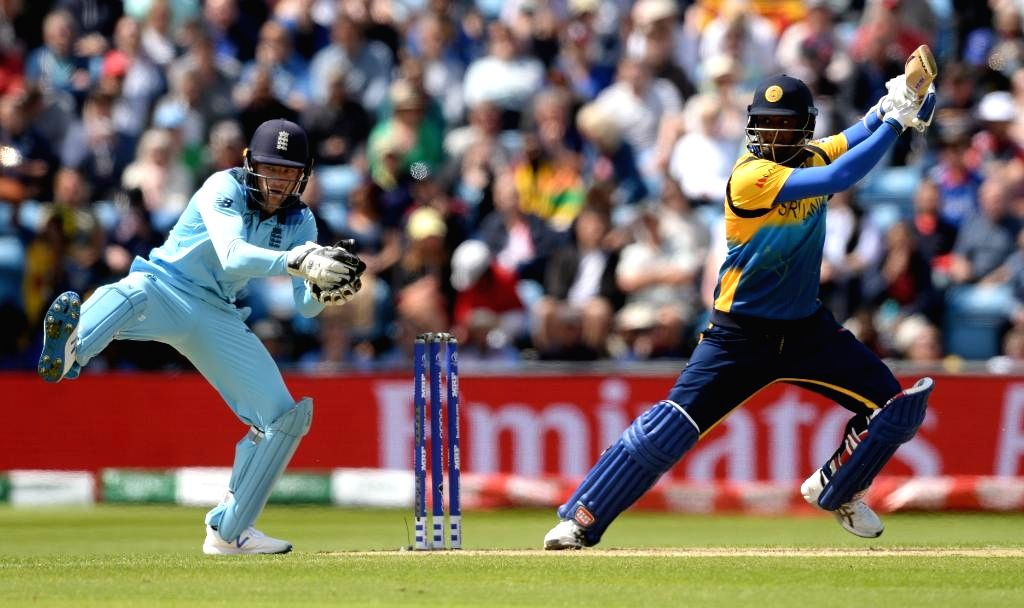 Leeds: Sri Lanka's Angelo Mathews in action during the 27th match of 2019 World Cup between Sri Lanka and England at Headingley Cricket Ground in Leeds, England on June 21, 2019. (Photo Credit: Twitter/@ICC)