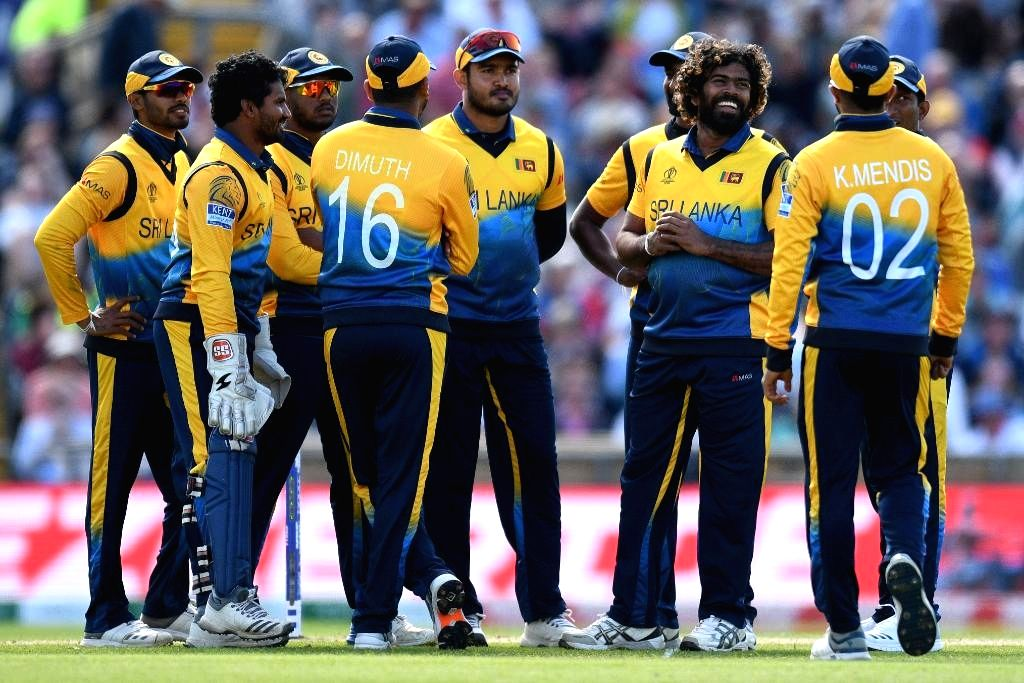 Leeds: Sri Lanka's Lasith Malinga celebrates fall of a wicket during the 27th match of 2019 World Cup between Sri Lanka and England at Headingley Cricket Ground in Leeds, England on June 21, 2019. (Photo Credit: Twitter/@ICC)
