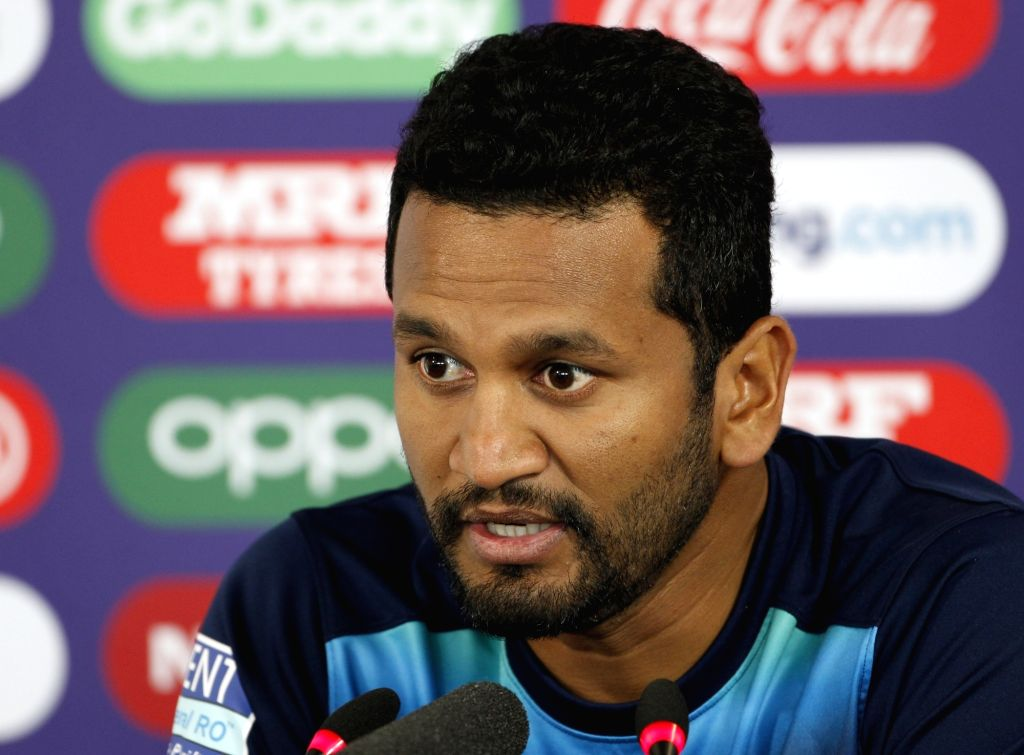 Leeds: Sri Lankan skipper Dimuth Karunaratne addresses a press conference ahead of their World Cup 2019 match against India at Headingley Stadium in Leeds, England on July 5, 2019. (Photo: Surjeet Yadav/IANS) - Surjeet Yadav