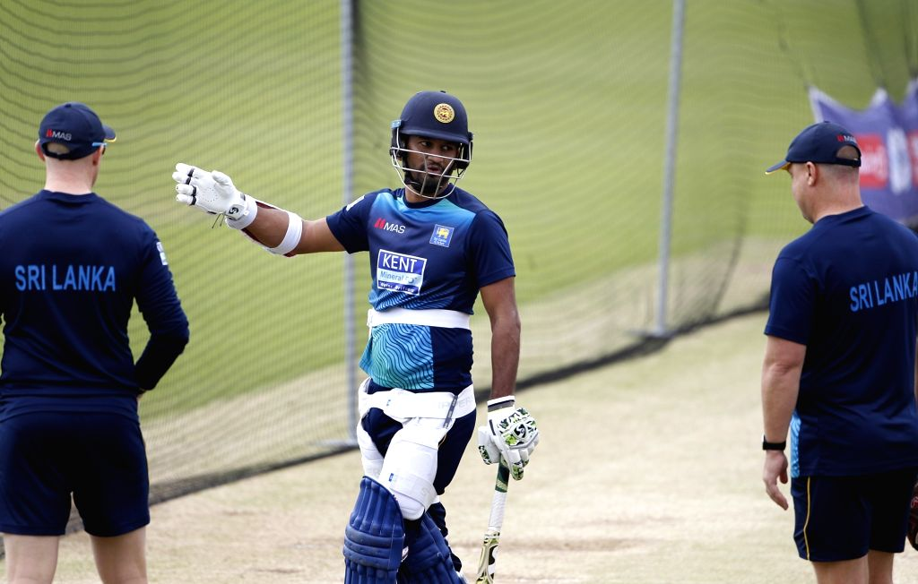 Leeds: Sri Lankan skipper Dimuth Karunaratne during a practice session ahead of their World Cup 2019 match against India at Headingley Stadium in Leeds, England on July 5, 2019. (Photo: Surjeet Yadav/IANS) - Surjeet Yadav