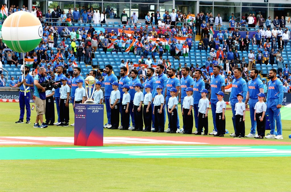 Leeds: Team India stands for the national anthem ahead of the 44th match of World Cup 2019 against Sri Lanka at Headingley Stadium in Leeds, England on July 6, 2019. (Photo: Surjeet Yadav/IANS) - Surjeet Yadav