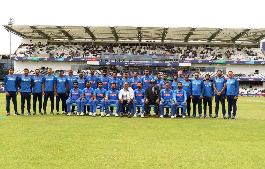 Leeds: The Indian Cricket team poses for a group photograph ahead of the 44th match of World Cup 2019 against Sri Lanka at Headingley Stadium in Leeds, England on July 6, 2019. (Photo: Surjeet Yadav/IANS) - Surjeet Yadav