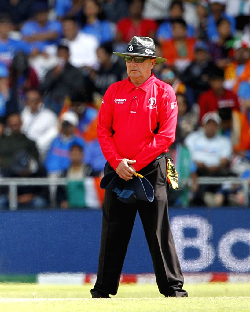 Leeds: Umpire Ian Gould during World Cup 2019 match between India and Sri Lanka, his last international match, at Headingley in Leeds, England, on July 6, 2019. Gould is notable for his practice of not employing a standard ball counter, instead using - Surjeet Yadav