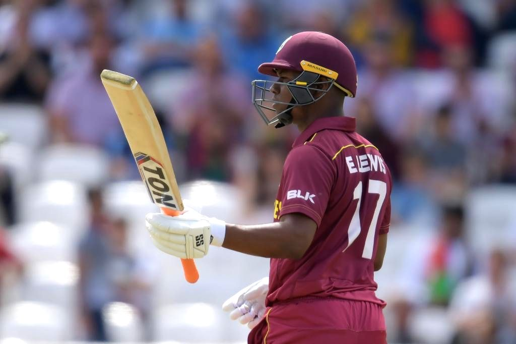 Leeds: West Indies' Evin Lewis celebrates his half century during the 27th match of 2019 World Cup between West Indies and Afghanistan at Headingley Cricket Ground in Leeds, England on July 4, 2019. (Photo Credit: Twitter/@cricketworldcup)