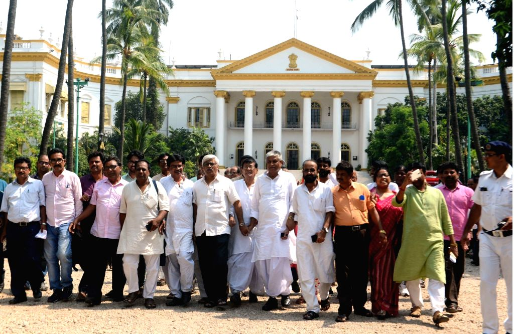 Left and Congress legislators come out after meeting West Bengal Governor Keshari Nath Tripathi regarding 22nd May police action on protesters in Kolkata, on May 23, 2017. - Keshari Nath Tripathi