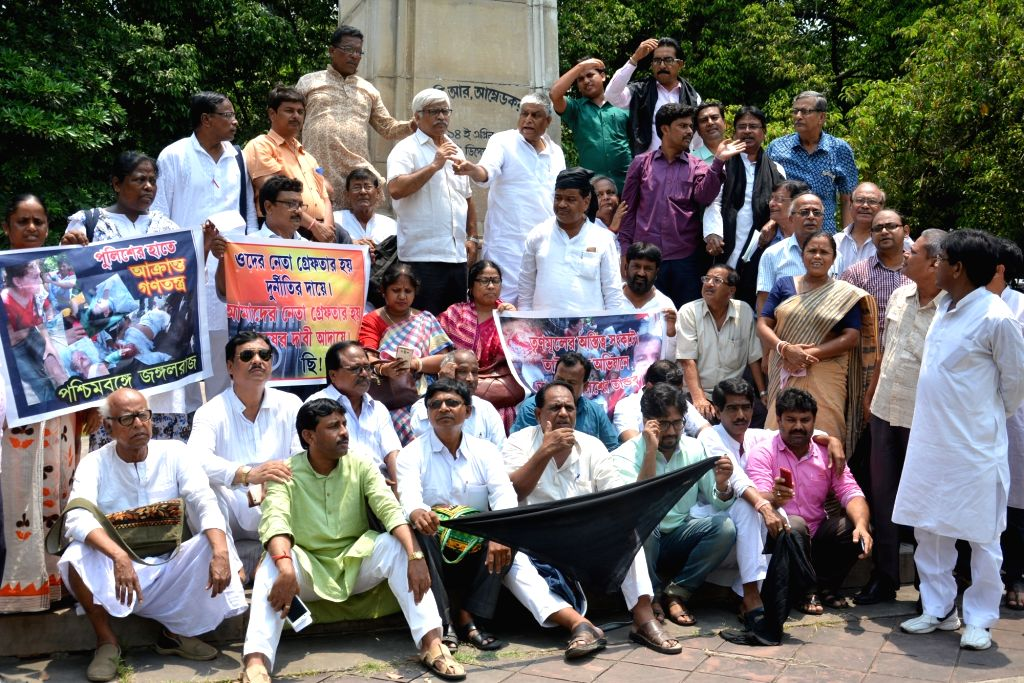 Left and Congress legislators stage a demonstration against 22nd May police action on protesters at West Bengal Legislative Assembly in Kolkata, on May 23, 2017.