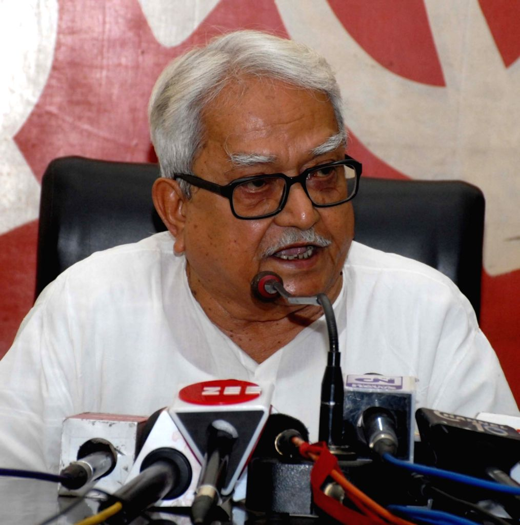 Left Front Chairman Biman Bose addresses a press conference in Kolkata, on April 3, 2018. - Biman Bose
