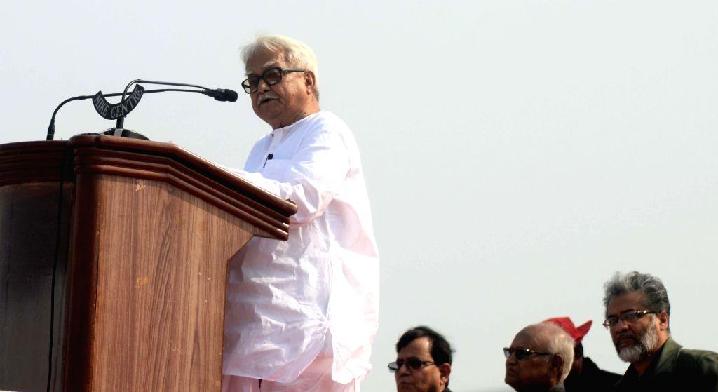 Left Front Chairman Biman Bose addresses during a rally at the Brigade Parade ground in Kolkata on Feb 3, 2019. - Biman Bose