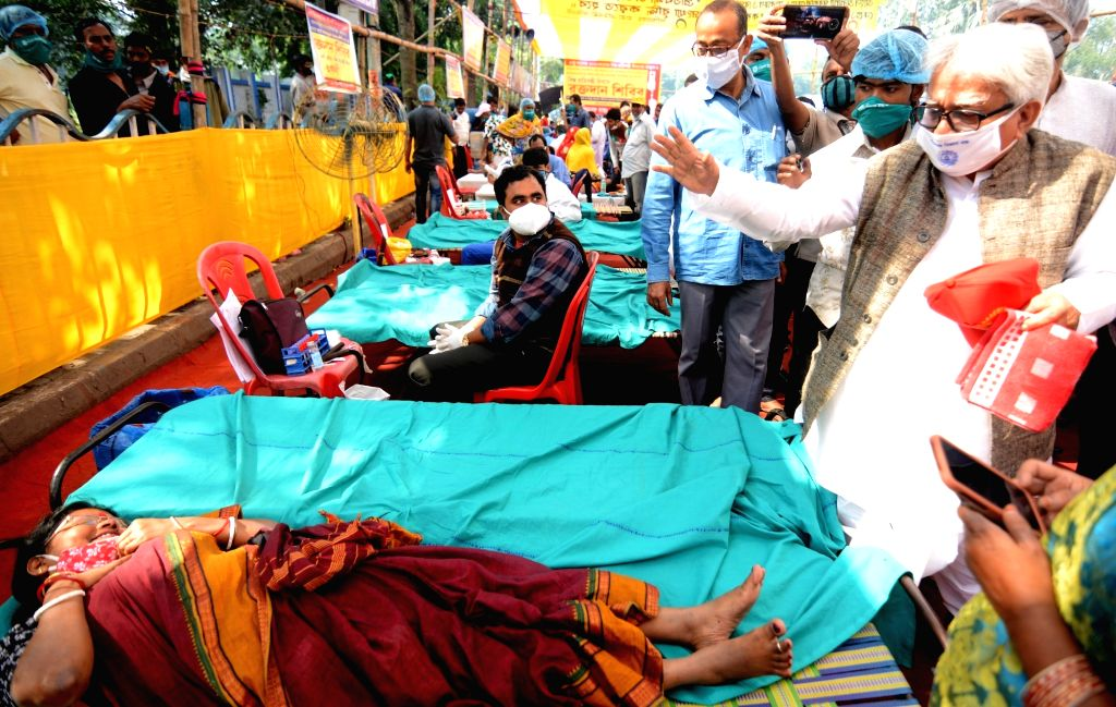 Left Front Chairman Biman Bose during his visit to a blood donation camp organised by the Paschimbanga Rajya Pratibandhi Sanmmilani on the occasion of International Day of Disabled Persons, ... - Biman Bose