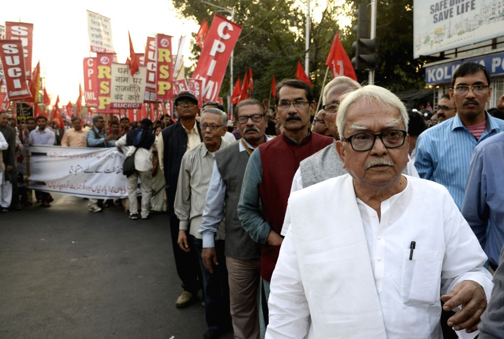 Left Front Chairman Biman Bose leads a protest rally against the demolition of Babri mosque, on the anniversary of the mosque's demolition, in Kolkata on Dec 6, 2019. - Biman Bose