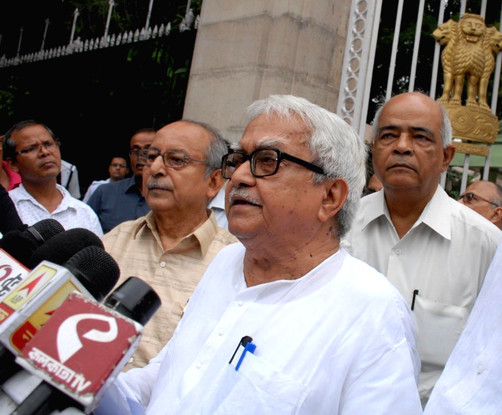 Left Front Chairman Biman Bose talks to press after meeting West Bengal Governor Keshari Nath Tripathi at Raj Bhawan in Kolkata, on July 5, 2017. - Biman Bose and Keshari Nath Tripathi