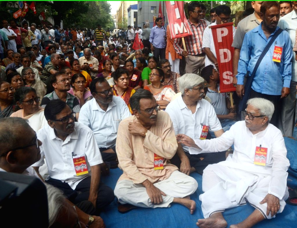 Left front leaders stage a demonstration in front of State Election Commissioner office against violence over Panchayat nomination ahead of Panchayat polls in Kolkata on April 6, 2018.