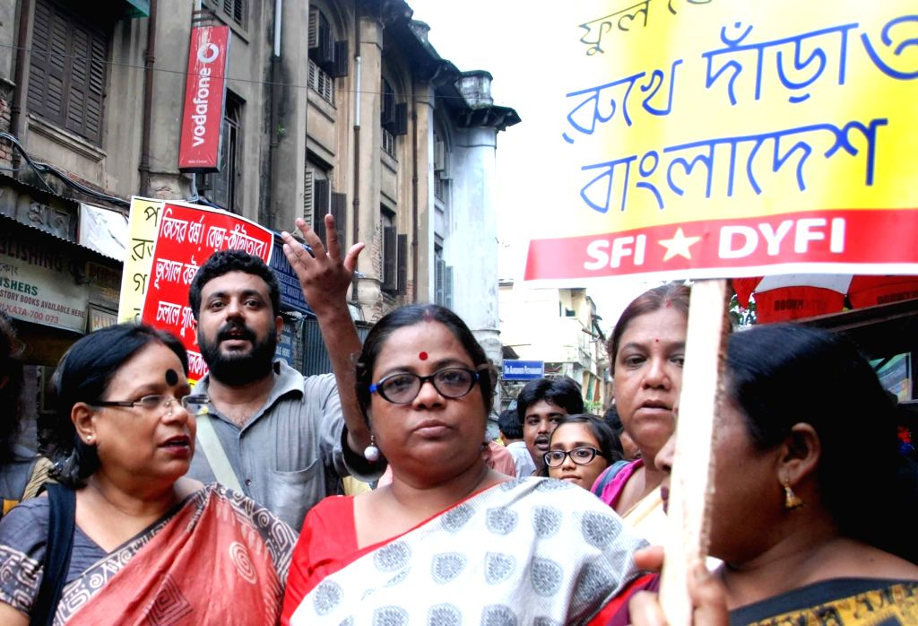 Leftist activists take part in a protest rally against attack on minorities of Bangladesh; in Kolkata on July 5, 2016.