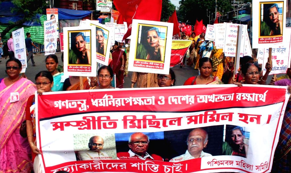 Leftist front women activists stage a demonstration against the killing of journalist turned activist Gauri Lankesh in Kolkata on Sept 9, 2017. Editor of the weekly Kannada tabloid Lankesh ...