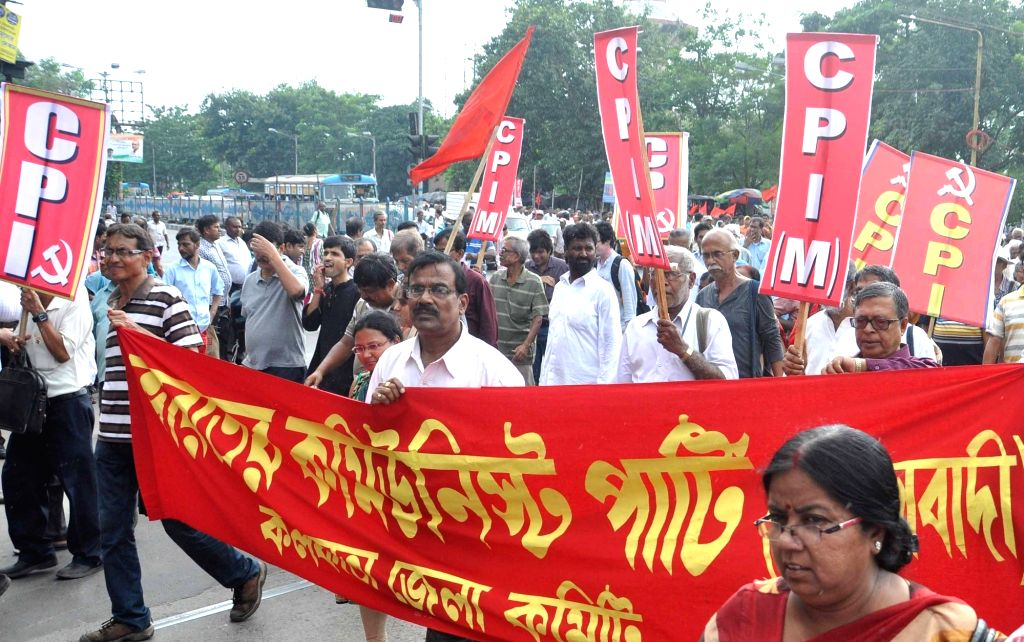 Leftist party leaders participate in a Left Front rally in Kolkata on Aug 17, 2017.