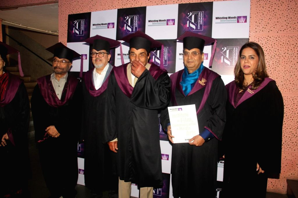 Legendary actor Dharmendra at the convocation ceremony of the Whistling Woods International school in Mumbai on Jan 24, 2019. - Dharmendra