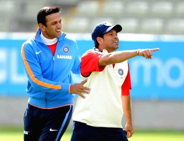 Legendary batsman Sachin Tendulkar on Saturday wished former India skipper Rahul Dravid on his 47th birthday. - Sachin Tendulkar and Rahul Dravid