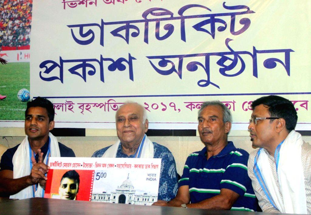 Legendary footballer P K Banerjee releases postal stamp on former Indian footballer Mehtab Hossain in Kolkata on July 6, 2017. Also seen footballer Gautam Sarkar and grandmaster Dibyendu ... - P K Banerjee