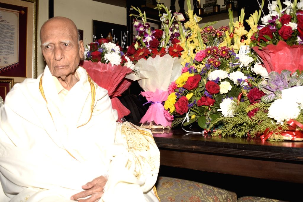 Legendary music composer Khayyam celebrates his 89th birthday at his residence in Mumbai on Feb 18, 2019.