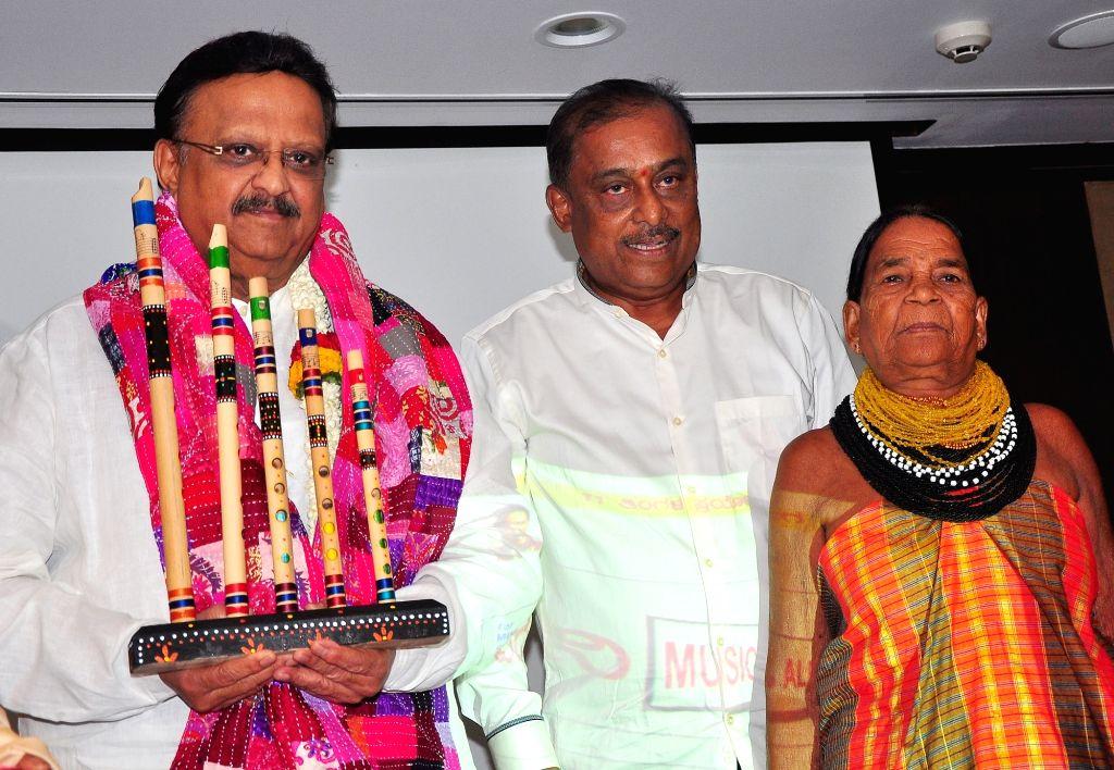 "Legendary singer Dr. SP Balasubrahmanyam with Sukri Bomma Gowda and Hamsalekha at the launch of ""IYDANI"" a redefine folk tradition of India, in Bengaluru on May 27, 2017."