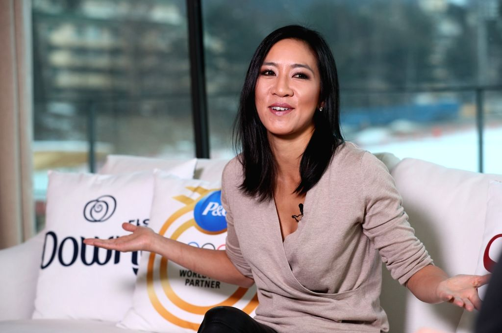 Legendary U.S. figure skater Michelle Kwan gives an interview in Pyeongchang, the host town of the 2018 Winter Olympics, on Feb. 13, 2018.
