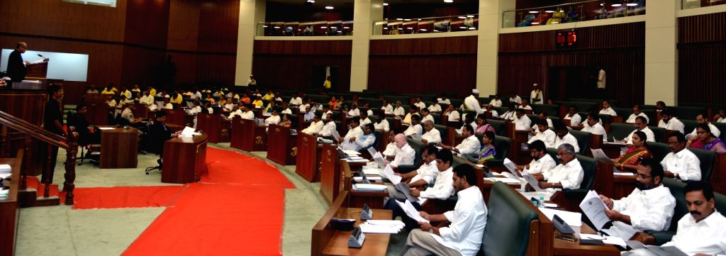 Legislators during the third day of the first session of the new Andhra Pradesh Assembly, in Amaravati on June 14, 2019.