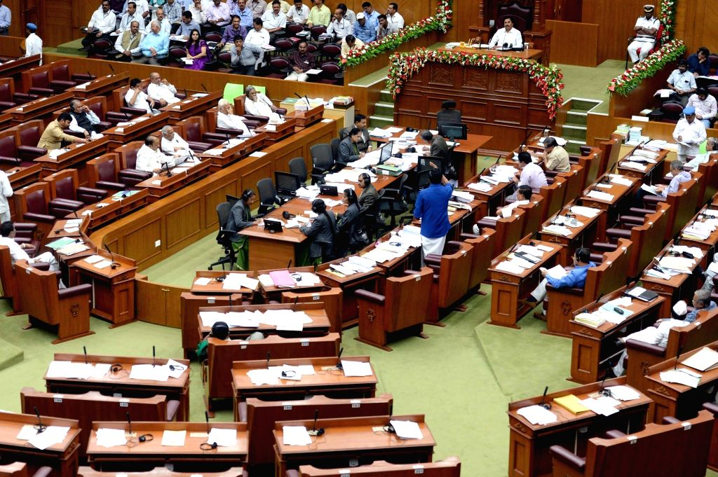 Legislators during the winter session of the Karnataka Assembly at Survarna Vidhana Soudha in Belagavi on Nov 29, 2016.