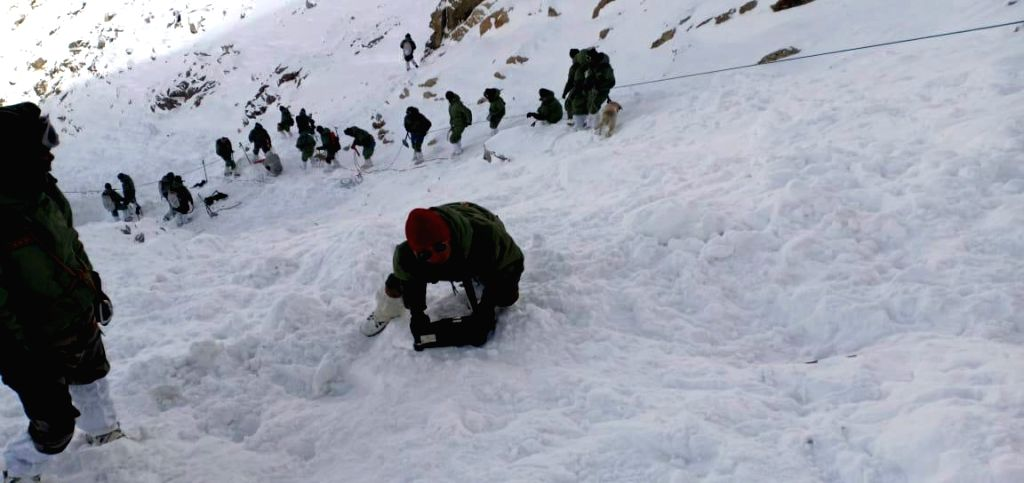 Leh: Rescue operations underway after an avalanche hit Leh district of Jammu and Kashmir's Ladakh region trapping 10 people, on Jan 19, 2019. Six dead bodies were recovered from the debris. Rescue teams of police, Border Roads Organisation and Jammu