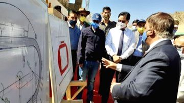 Leh: Union MoS Youth Affairs and Sports Kiren Rijiju lays the foundation stone for works relating to Synthetic Track and Astro Turf for football in open stadium in Leh, Ladakh on Sep 14, 2020. Ladakh Lieutenant Governor RK Mathur was also present on