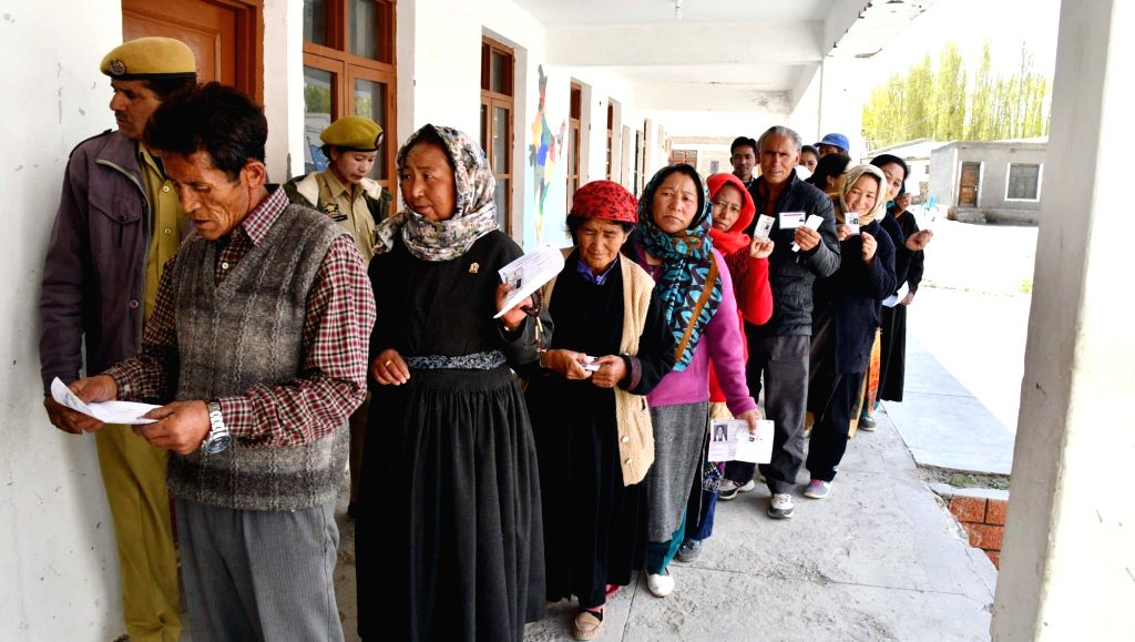 Leh: Voters queue up at a polling station to cast their votes for the fifth phase of 2019 Lok Sabha elections, at Shey village in Leh district of Jammu and Kashmir on May 6, 2019. (Photo: IANS/PIB)