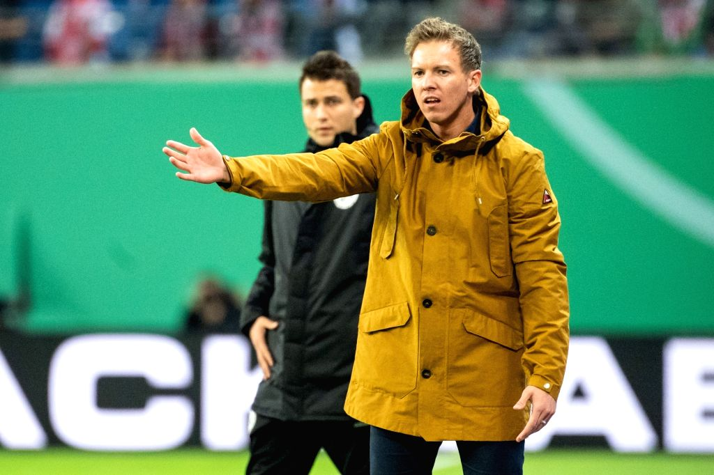 LEIPZIG, Nov. 1, 2018 - Hoffenheim's head coach Julian Nagelsmann (R), who is confirmed to be new head coach of RB Leipzig in next season, gestures during the 2nd round match of German Cup between RB ...