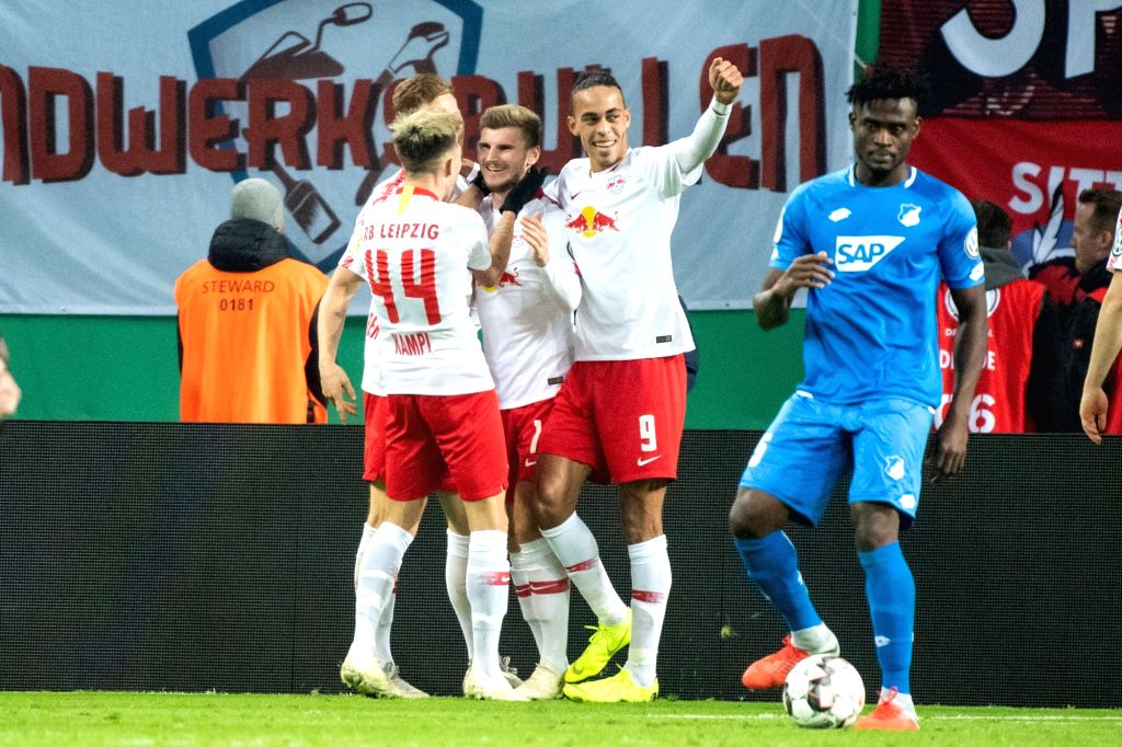 LEIPZIG, Nov. 1, 2018 - Leipzig's Timo Werner (2nd L) celebrates his goal with teammates during the 2nd round match of German Cup between RB Leipzig and TSG 1899 Hoffenheim, in Leipzig, Germany, on ...
