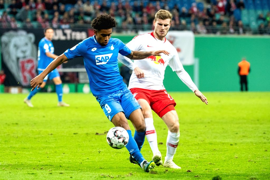 LEIPZIG, Nov. 1, 2018 - Leipzig's Timo Werner (R) vies with Hoffenheim's Reiss Nelson during the 2nd round match of German Cup between RB Leipzig and TSG 1899 Hoffenheim, in Leipzig, Germany, on Oct. ...
