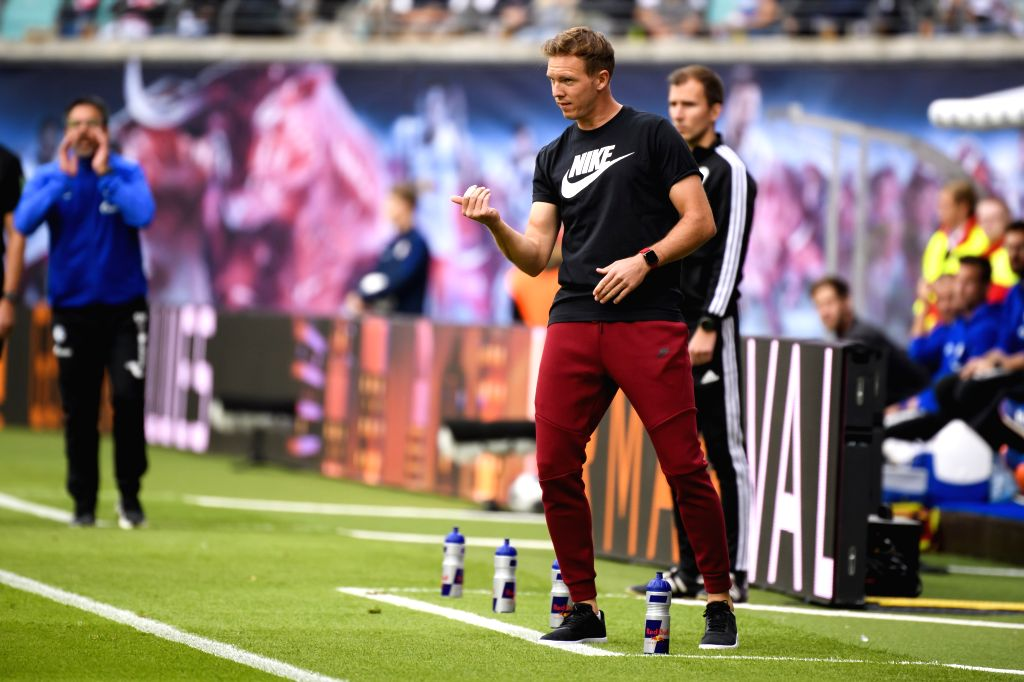 LEIPZIG, Sept. 29, 2019 - Head coach Julian Nagelsmann of Leipzig reacts during the Bundesliga soccer match between RB Leipzig and FC Schalke 04 in Leipzig , Germany, on Sept. 28, 2019.