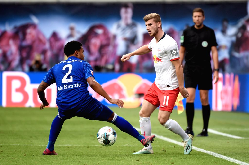 LEIPZIG, Sept. 29, 2019 - Weston McKennie (L) of FC Schalke 04 vies with Timo Werner of RB Leipzig during the Bundesliga soccer match between RB Leipzig and FC Schalke 04 in Leipzig , Germany, on ...