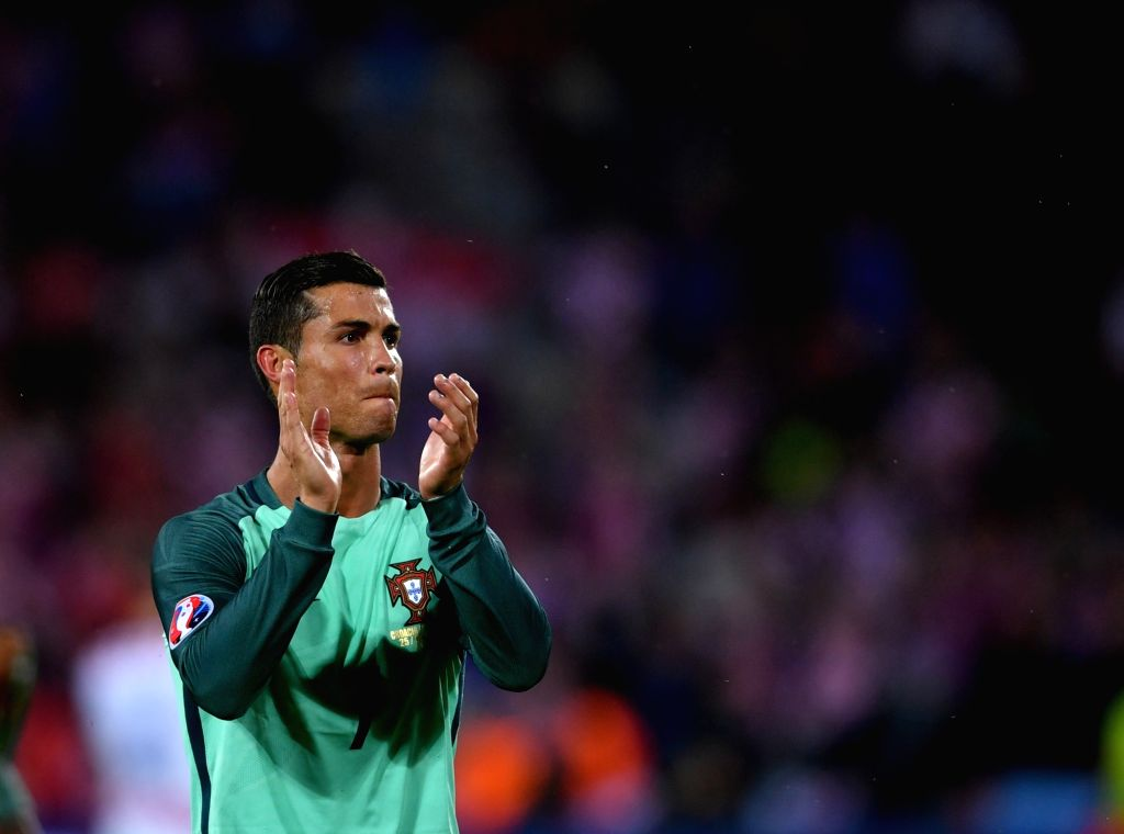 LENS, June 26, 2016 - Cristiano Ronaldo of Portugal greets the spectators after the Euro 2016 round of 16 soccer match between Portugal and Croatia in Lens, France, on June 25, 2016. Portugal won 1-0.