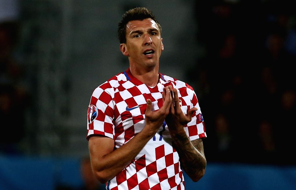 LENS, June 26, 2016 - Mario Mandzukic of Croatia reacts during the Euro 2016 round of 16 soccer match between Portugal and Croatia in Lens, France, on June 25, 2016.