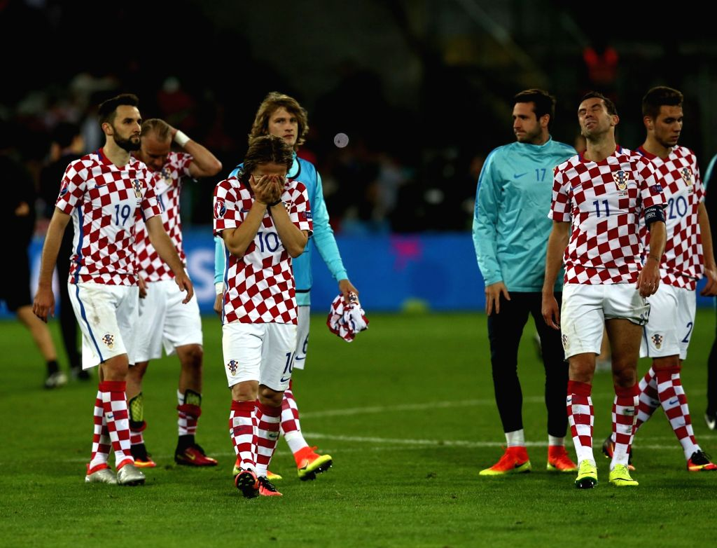 LENS, June 26, 2016 - Players of Croatia react after the Euro 2016 round of 16 soccer match between Portugal and Croatia in Lens, France, on June 25, 2016. Portugal won 1-0.