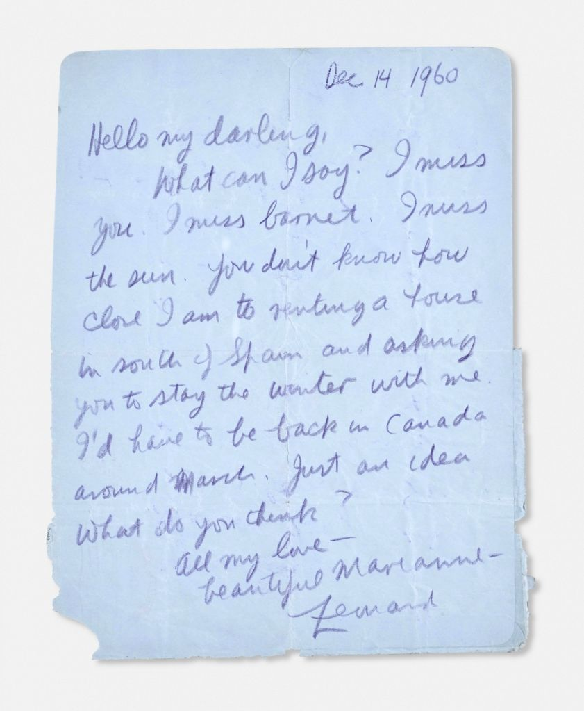 Leonard Cohen's letters to his girlfriend Marianne (Photo Source: Christie's)