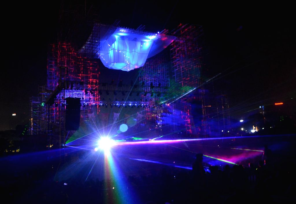 Leser light show in Delhi on Oct. 27, 2019.
