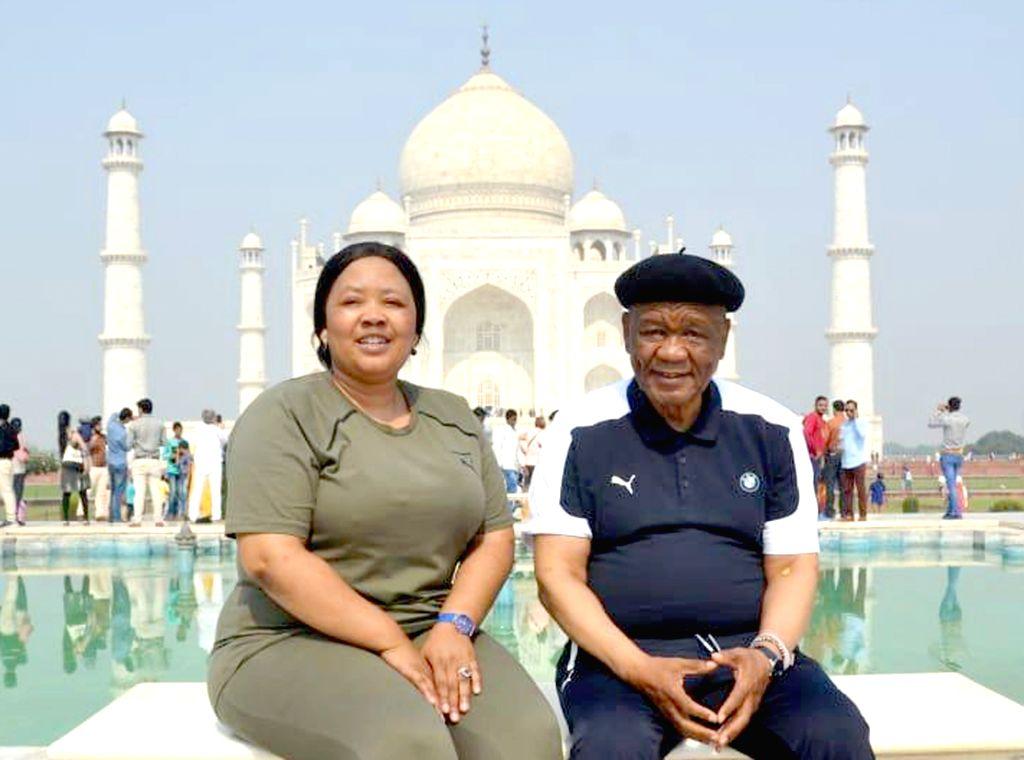 Lesotho's Prime Minister Thomas Thabane and his wife Liabiloe Thabane at the Taj Mahal in Agra on Oct 31, 2018. - Thomas Thabane