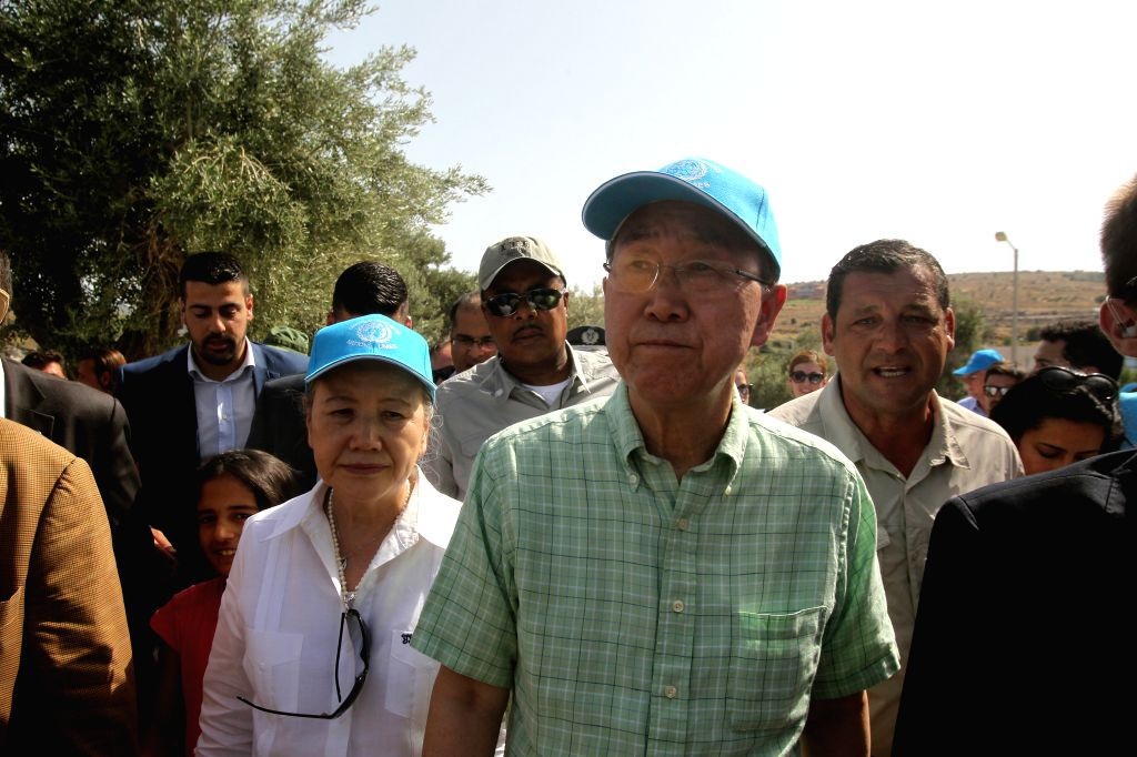 LESVOS, June 18, 2016 - UN Secretary General Ban Ki-moon (C) visits a refugees' reception center on Lesvos island, Greece on June 18, 2016. UN Secretary General Ban Ki-moon praised Greece's response ...