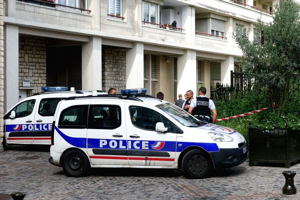 LEVALLOIS-Policemen guard near the attack site in Levallois-Perret, France on Aug. 9, 2017. A vehicle burst into a group of French sentinel operation soldiers ...