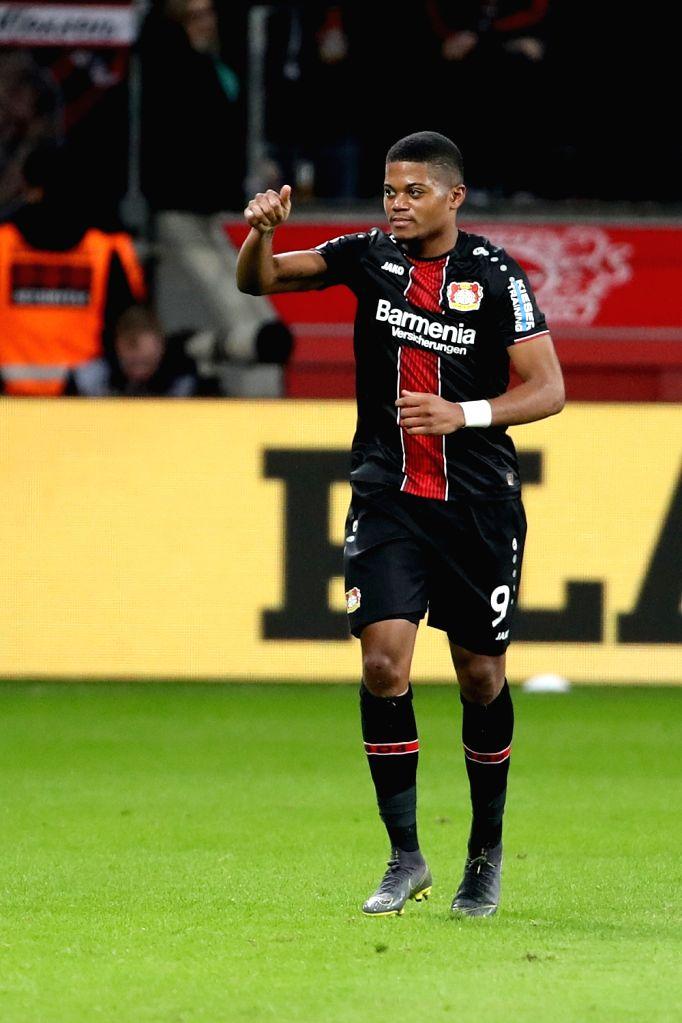 LEVERKUSEN, Feb. 18, 2019 - Leon Bailey of Leverkusen reacts during the Bundesliga match between Bayer 04 Leverkusen and Fortuna Duesseldorf 1895 in Leverkusen, Germany, Feb. 17, 2019. Leverkusen won ...