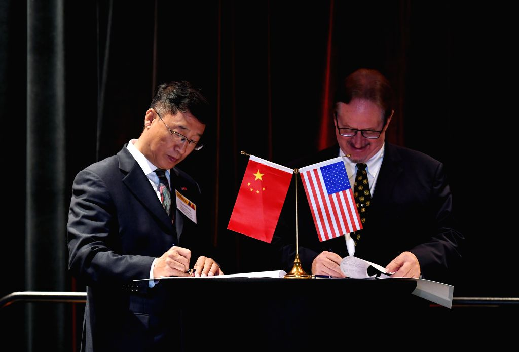 LEXINGTON (U.S.), May 24, 2019 Dong Yuming (L), CEO of Galaxy Trade and Technology Company, and Michael North, Chairman of Galaxy Trade and Technology Company, sign a joint venture ...