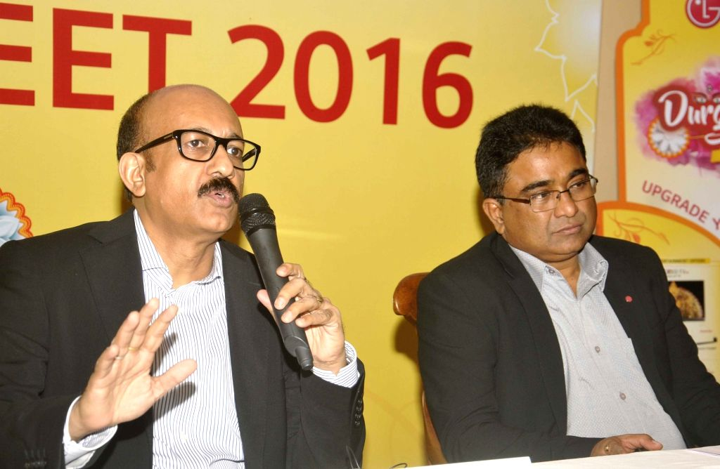 LG Electronics India Head Corporate Marketing Niladri Datta and Regional Manager Vishal Sharan during a press conference to announce companies Festive Season offers in Kolkata on Sept 29, ...
