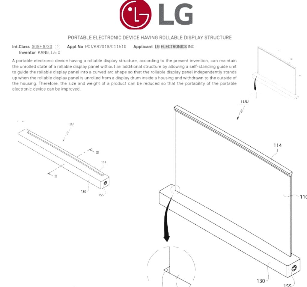 LG patents laptop with rolling display.