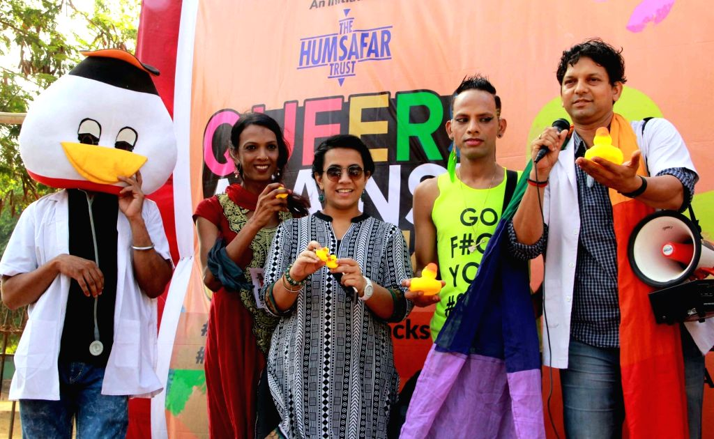 LGBT rights activists participate in Queers Against Quacks campaign on International Day Against Homophobia and Transphobia at Azad Maidan in Mumbai, on May 17, 2016.