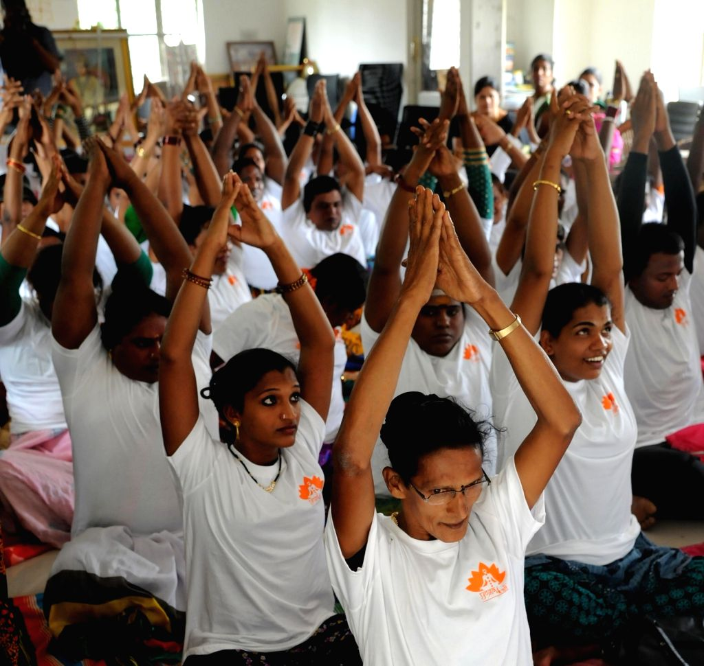 LGBT supporters participate during a Yoga workshop ahead of the International Yoga Day, in Bengaluru on June 18, 2016.